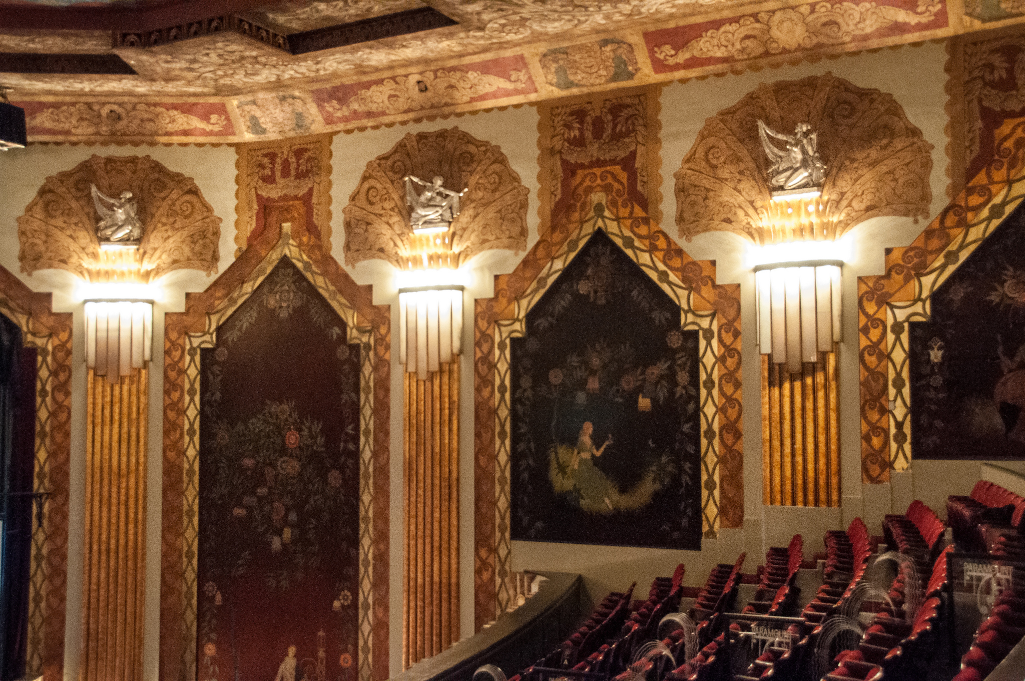 The Paramount theater's Art Deco detailing and murals painted on silk seen from the balcony. Photo by Ken Kanouse. Licensed under Creative Commons.