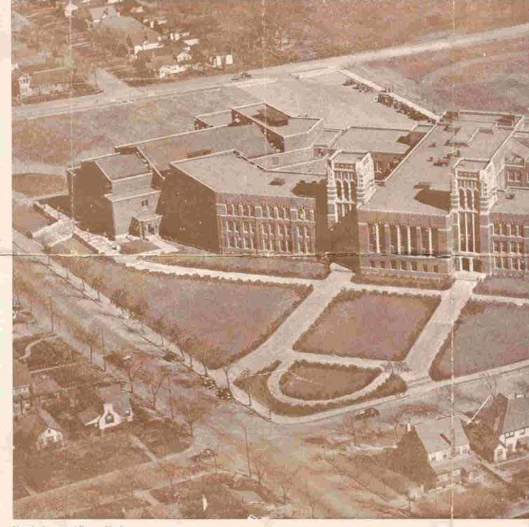 Aerial view of the school not long after its construction in 1937