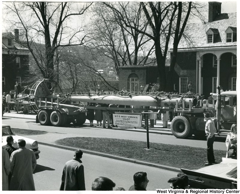 The arrival of the U.S.S. West Virginia mast at WVU 1961.