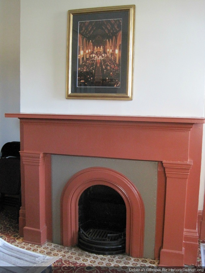 The dining room fireplace