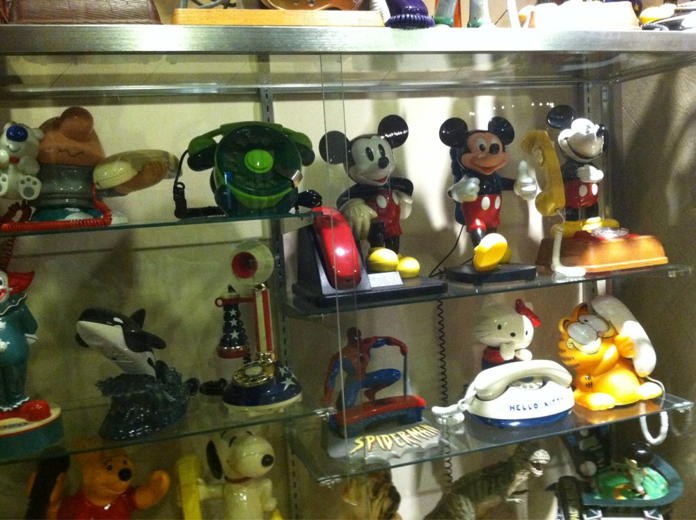 The museum features many novelty phones including these, which are popular with children.