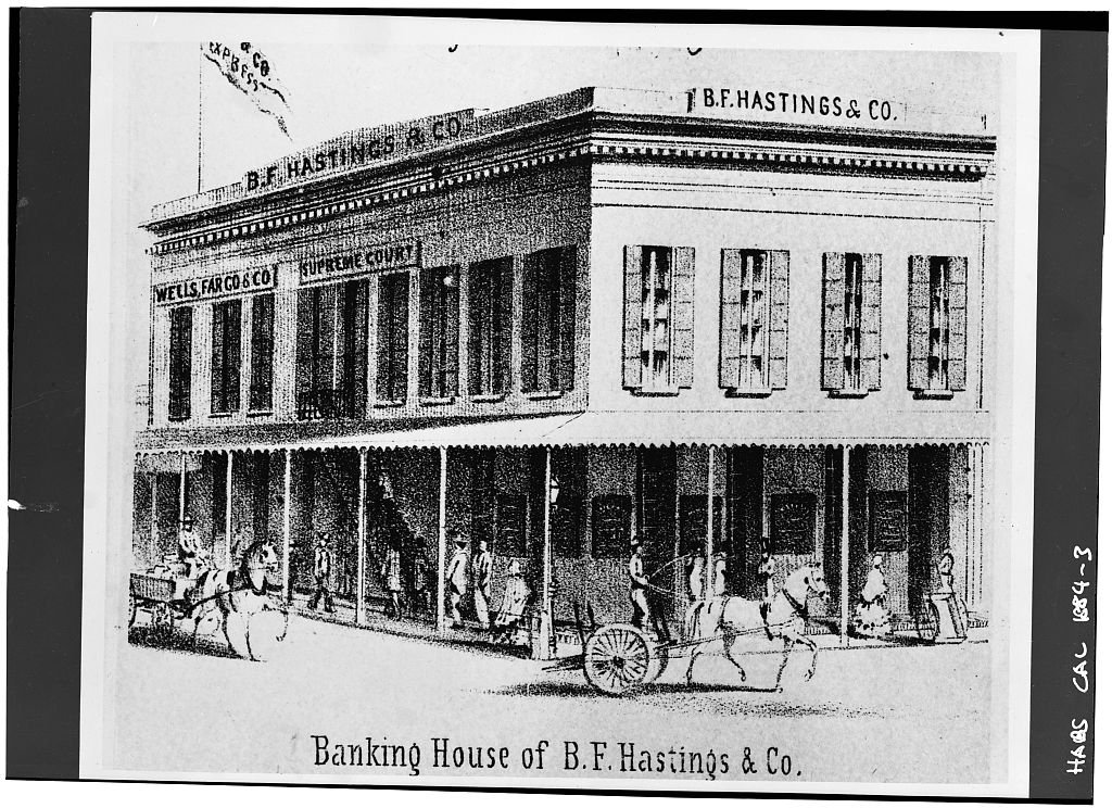 The B.F. Hastings Bank Building in its 1850s heyday. This photograph depicts the structure between 1855-56, when both Wells Fargo and the State Supreme Court occupied the bulding simultaneously (Library of Congress).