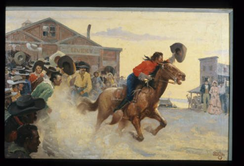 A fanciful depiction of a Pony Express rider from the Missouri Division of Tourism. Pony Express riders rode in a relay system that stretched from St. Joseph's, Missouri, to Sacramento, California. Mail could reach San Francsico in 10 days.