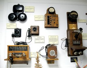Some of the collection of antique telephones on display in the former Frank H. Woods Telephone Museum