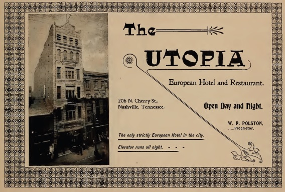 Historic advertisement (image from Nashville Saloon History)
