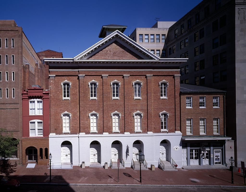 Caption:  Ford's Theater (center) and the Star Saloon (right).  Lincoln's assassin, John Wilkes Booth, is believed to have entered the Theater through the passageways connected to Saloon.