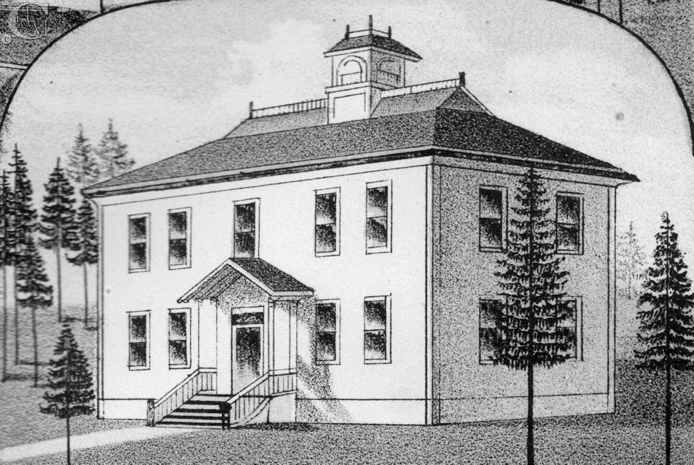 Drawing of the Benjamin P. Cheney Academy 1883