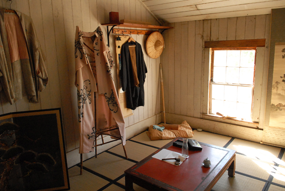 View of a recreated Japanese room in one of the buildings at the site