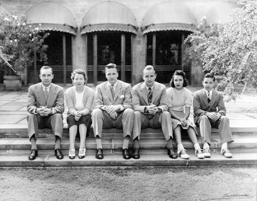 The Ford family, left to right: Edsel, Eleanor, Henry II, Benson, Josephine, and William