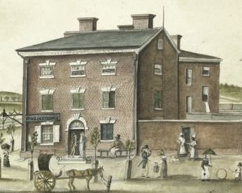 Drawing of the tavern in 1817 by Anne Margueritte Henriette Hyde de Neuville (public domain)