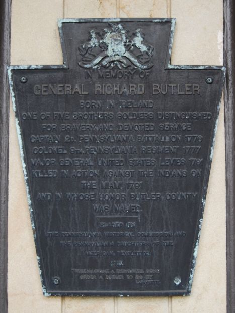 This plaque is located on the grounds of the Butler County Courthouse
