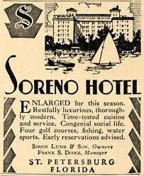 Travel ad for hotel and Yacht Club, 1930s-1940s
