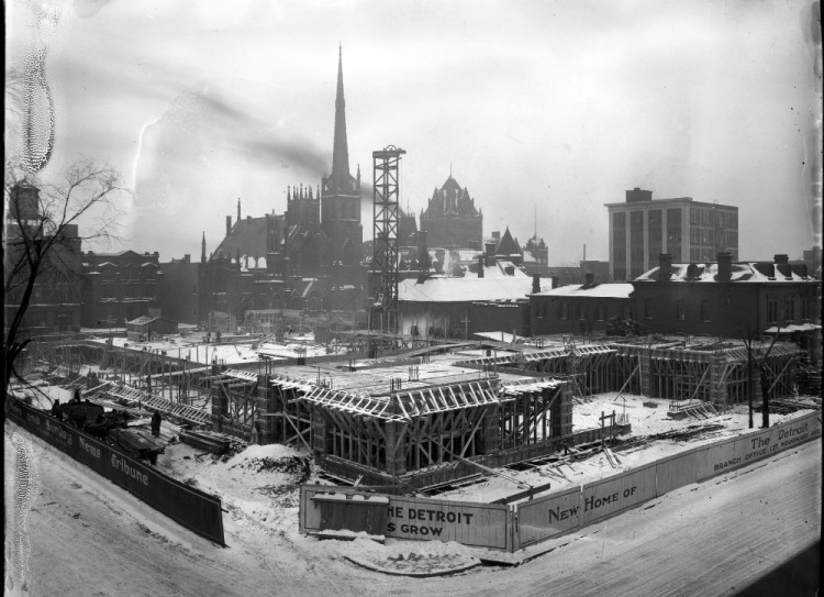 Construction of the Detroit News Building (image from University of Michigan)