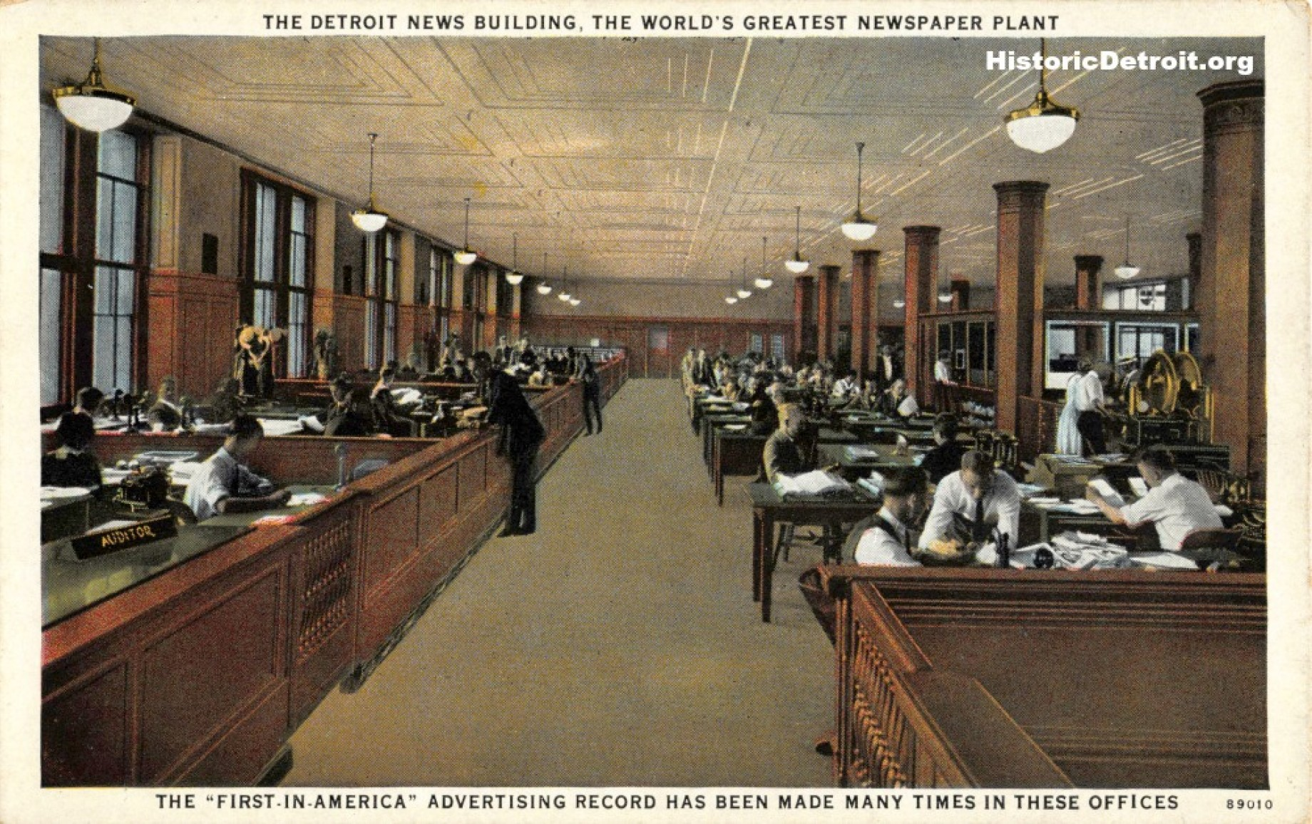 Advertising department depicted in a historic postcard  (image from Historic Detroit)
