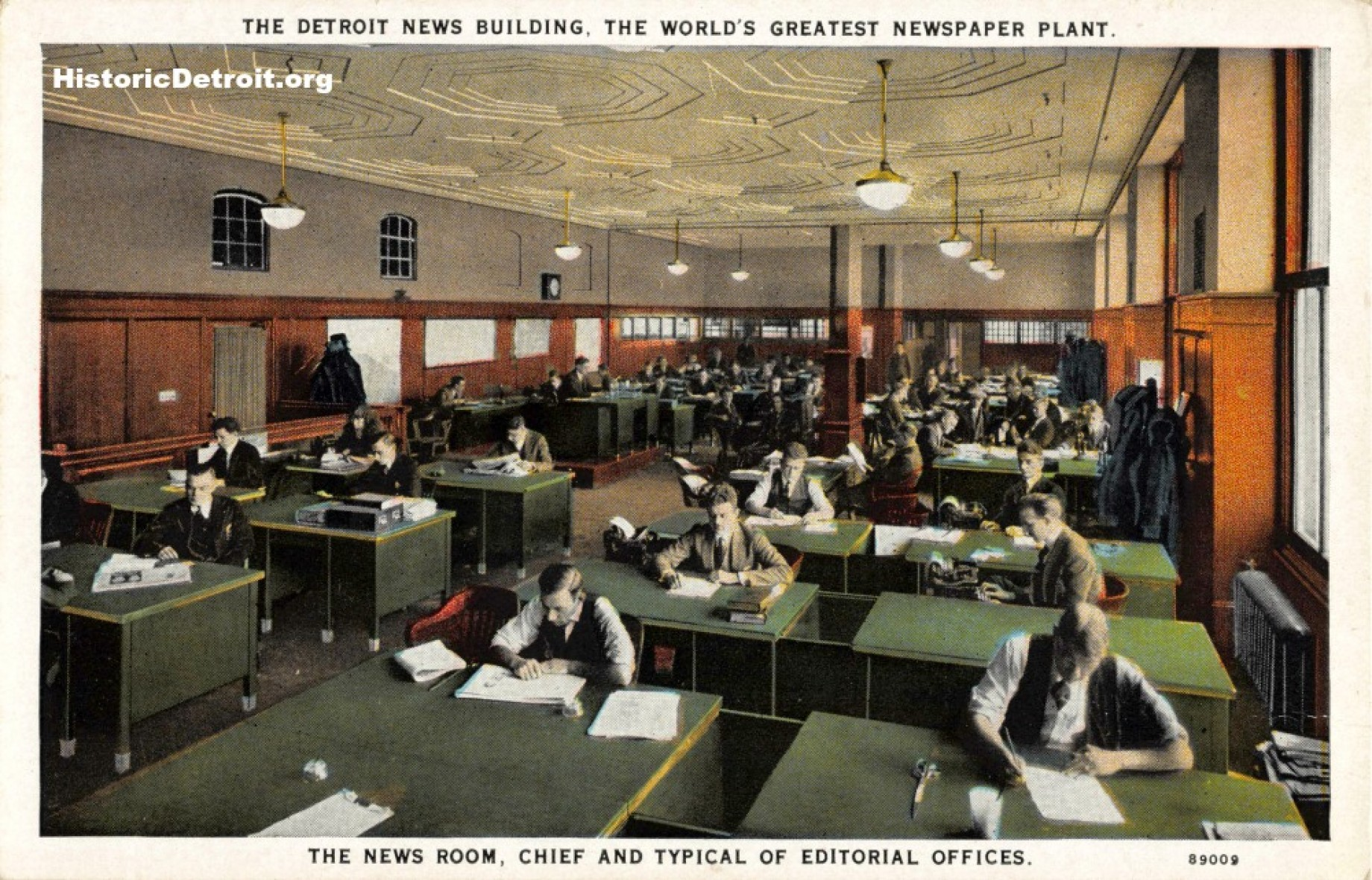 Postcard depicting the news room (image from Historic Detroit)