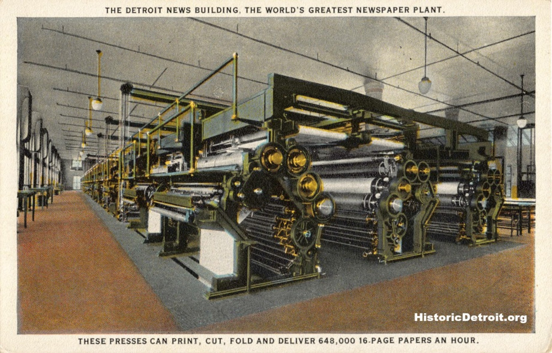 Detroit News presses depicted in a postcard  (image from Historic Detroit)