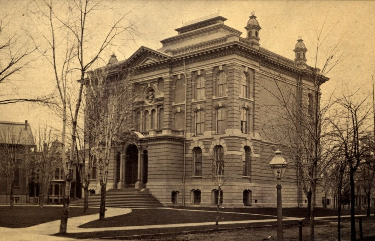 The second library building was in Center Park and served as the main branch from 1877 - 1921