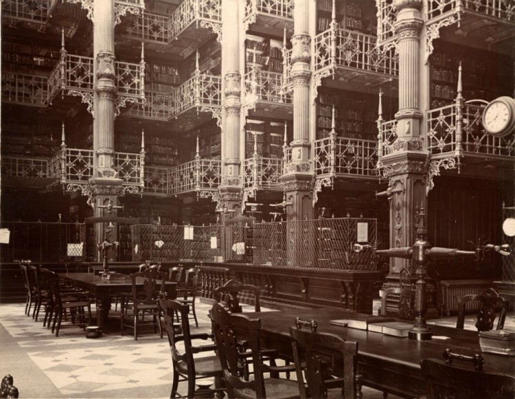 The reading room of the Center Park library, demolished in 1931