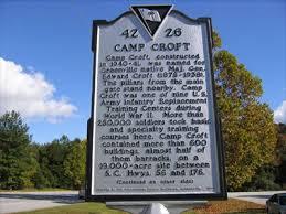 Historical site marker for Camp Croft