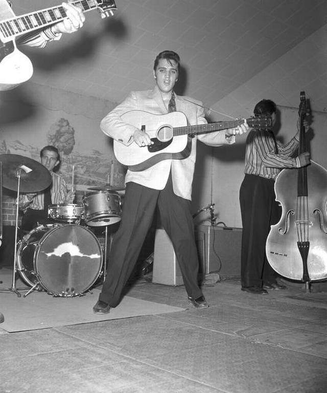 Elvis performing at the Cowtown Coliseum.