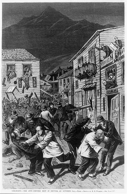 A cartoon depiction of Denver's anti-Chinese riot of 1880, printed in the November 20 issue of Frank Leslie's Illustrated Newspaper. Source: Library of Congress.