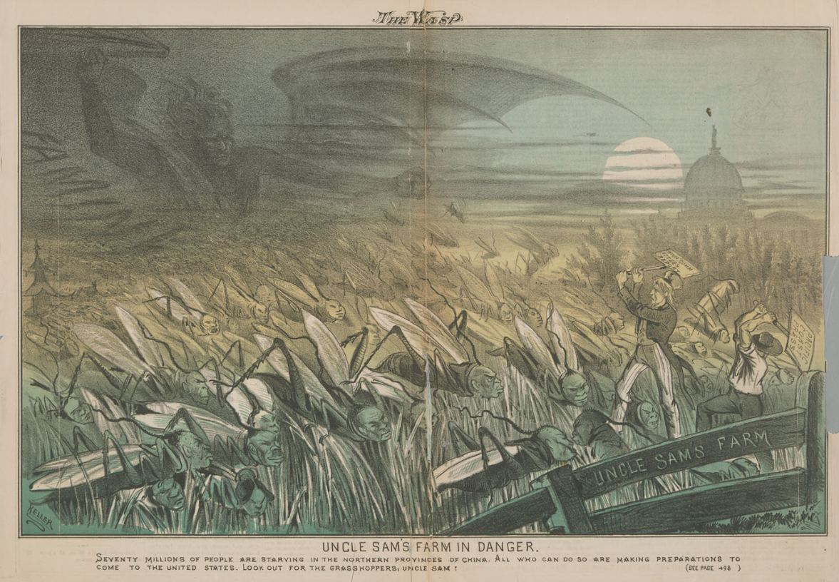 A cartoon depicting Chinese immigrants as locusts devouring Uncle Sam's crops. One of a series of anti-Chinese cartoons drawn by George Keller for a San Francisco periodical, The Wasp. March 9, 1878.Source: Library of Congress.