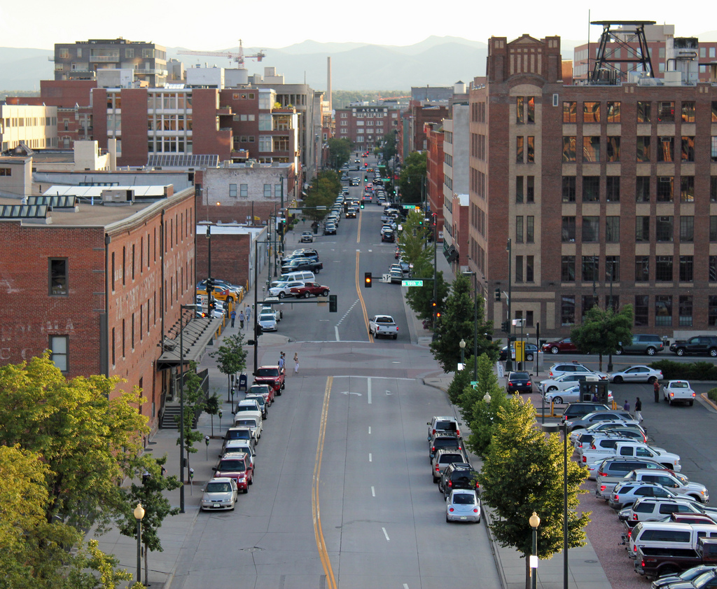 Wazee Street in lower downtown Denver, once the center of Denver's Chinatown, as it appears today from Coors Field. The anti-Chinese riot of October 31, 1880, broke out in the 1600 block. Photo by Jeffrey Beall. Licensed under Creative Commons.