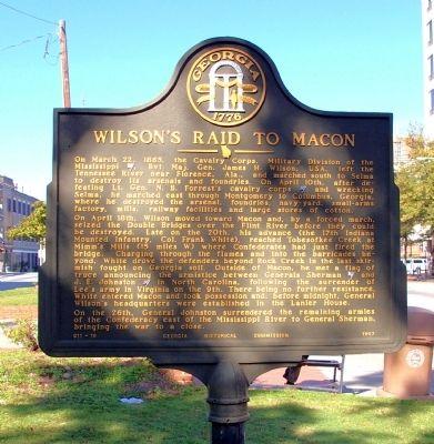 Wilson's Raid to Macon History Marker in Macon, GA