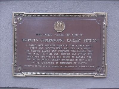 Detroit Underground Railway Station historic marker (image from Historical Marker Database)