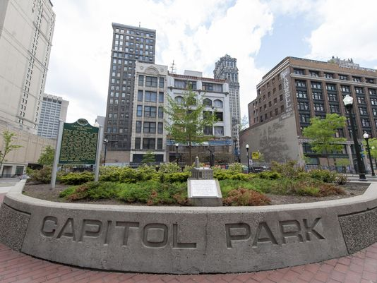 Both markers are within Capitol Park in downtown Detroit (image from Detroit News)