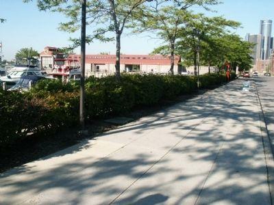 The St. Aubin Park Riverwalk, in Milliken State Park (image from Historical Marker Database)