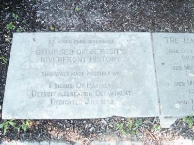The first of the riverwalk historic marker stones (image from Historical Marker Database)