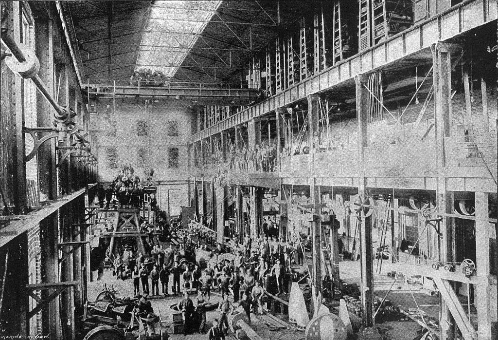 Machine shop of the Dry Dock Engine Works, 1894 (image from Wikimedia Commons)