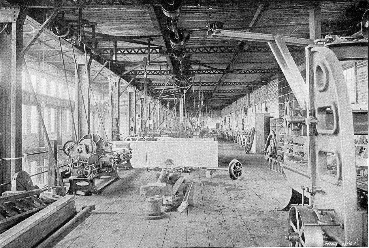 Another shot of the Dry Dock Co. machine shop in 1894 (image from Wikimedia Commons)