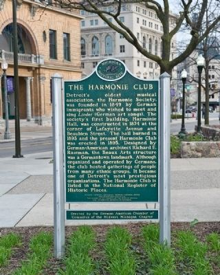 Harmonie Club historic marker (image from Historical Marker Database)