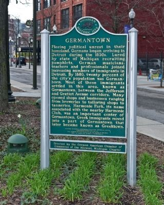 Germantown historic marker at the Harmonie Club (image from Historical Marker Database)
