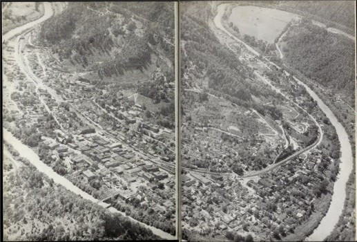Pikeville before the Cut-Through with the town between the mountain and the river.