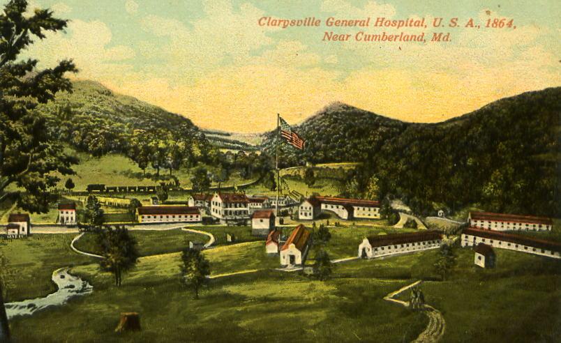 Postcard of the Clarysville General Hospital: https://news.lib.wvu.edu/wp-content/uploads/2015/09/clarysvillehosp.jpg