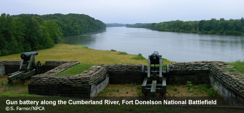 Cannons overlooking the Cumberland River