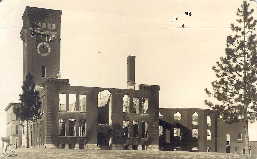 The Cheney Normal School the day after the 1912 fire.