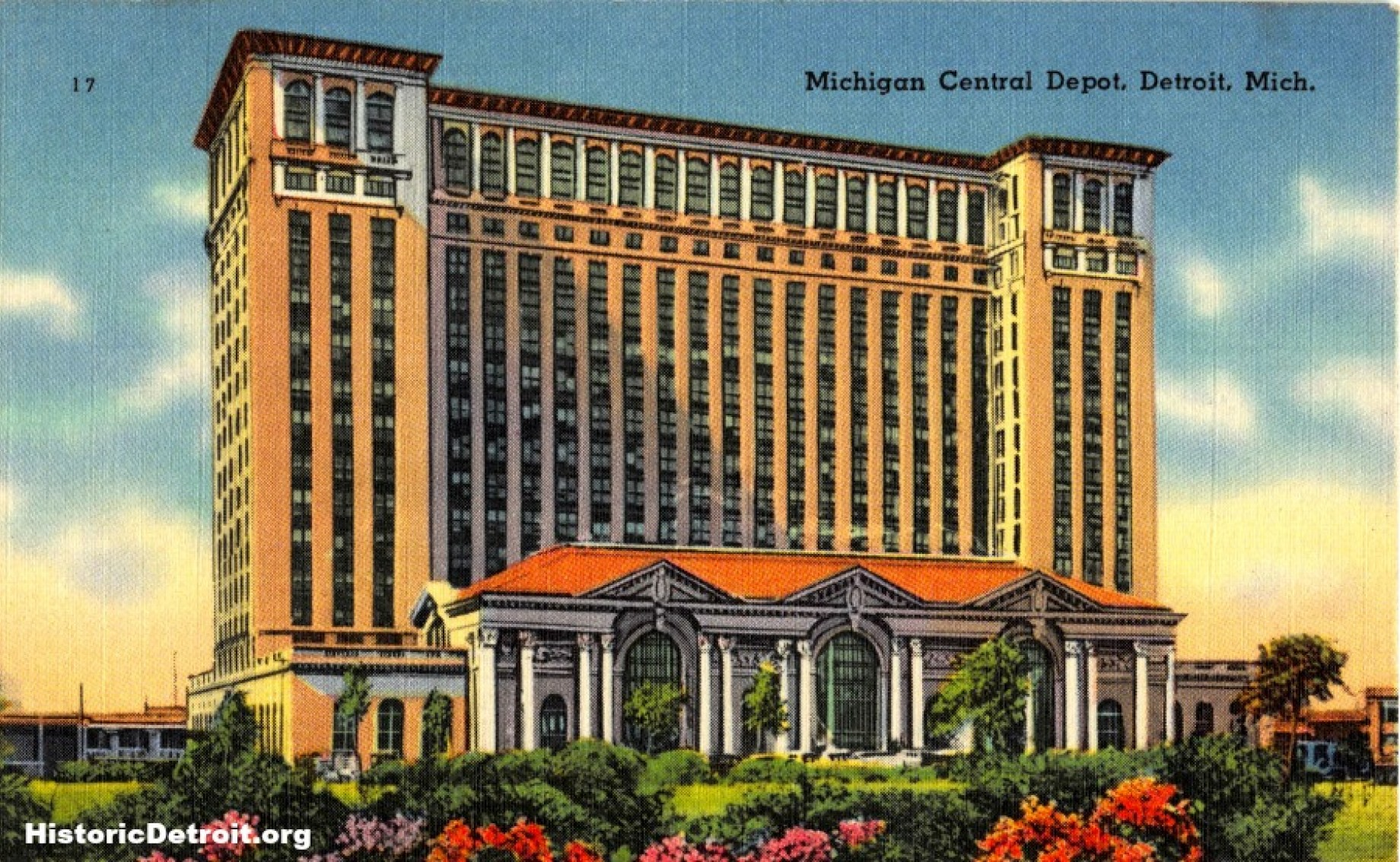 Postcard for Michigan / Penn Central Station (image from Historic Detroit)