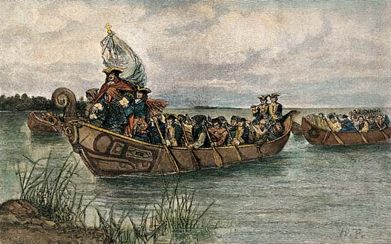 Cadillac landing with the first permanent settlers at the site of modern-day Detroit