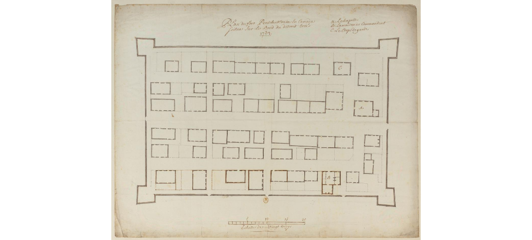 Map of the inside of the fort.  A: St Anne's Chapel B: the house of the commandant C: the guardhouse
