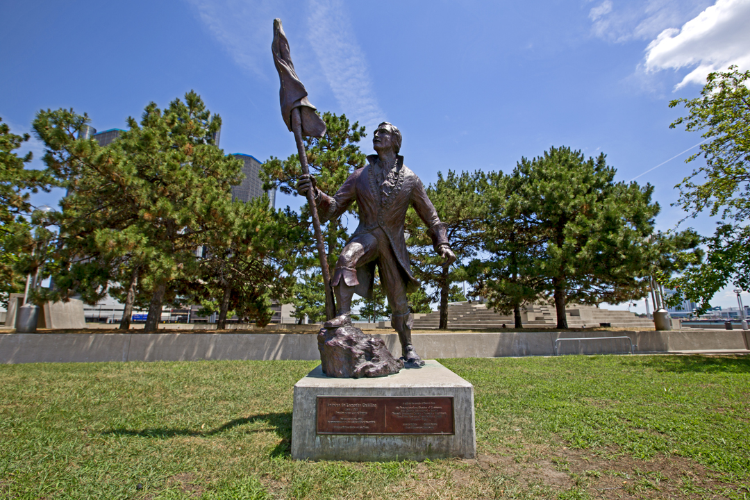 A statue and historical marker in Hart Plaza in downtown Detroit commemorates the landing of Cadillac