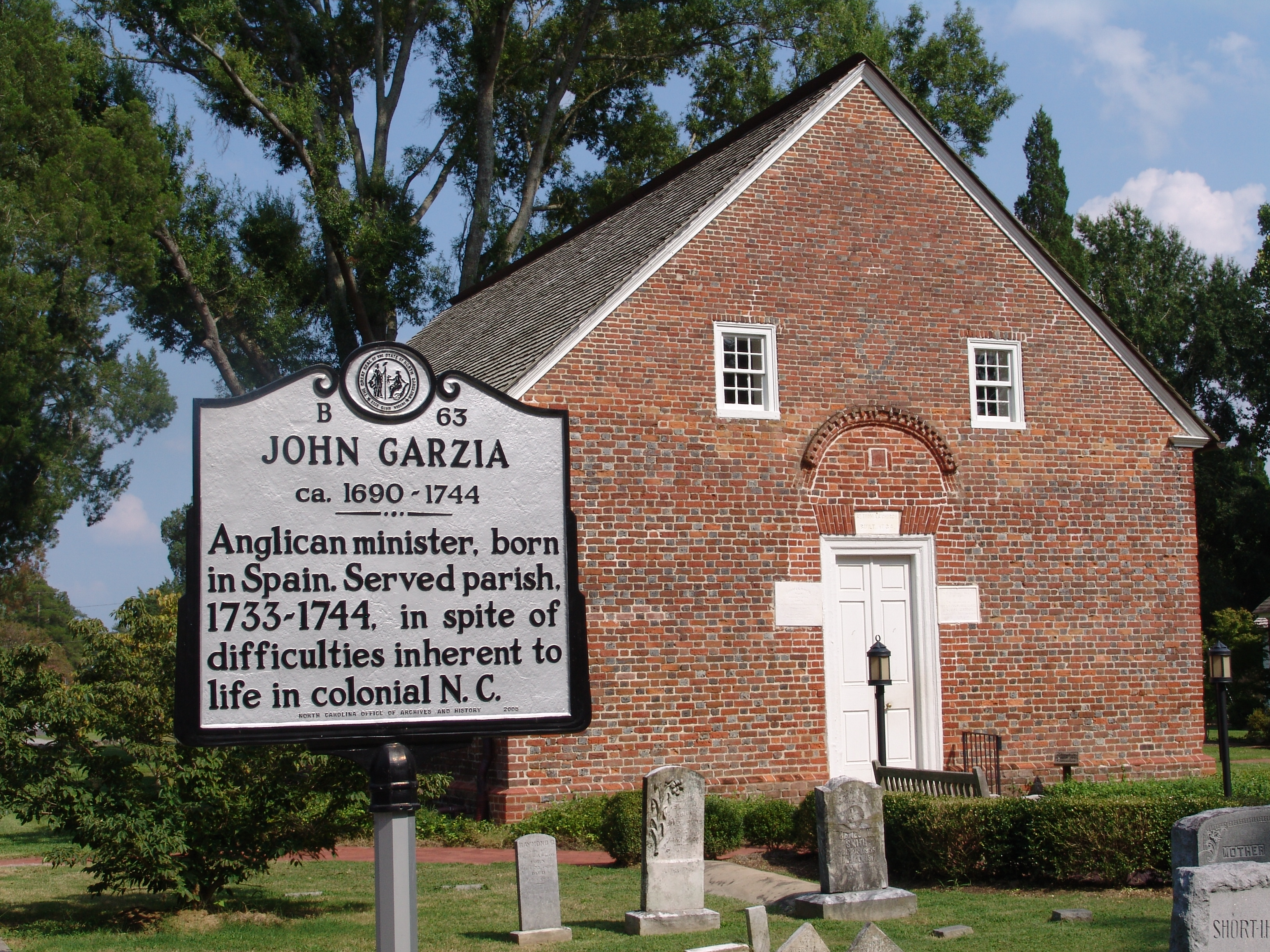 This historical marker is located next to St. Thomas Episcopal Church, the oldest remaining church in North Carolina.