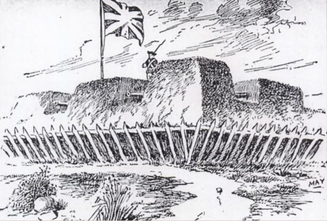 A drawing of Fort Lernoult based on Captain Henry Bird's description