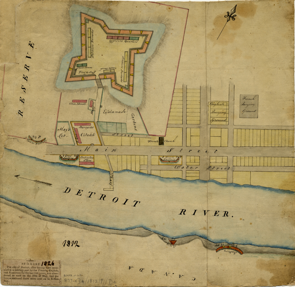 Detroit in 1812, when the town was captured by the British in June only to be recaptured by the Americans again a year later and renamed Fort Shelby