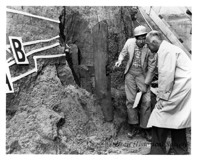 Excavations in the 1960s on the fort site revealed this original wooden flagpole. Thousands of artifacts from the excavations are held in the Anthropology Museum at Wayne State University