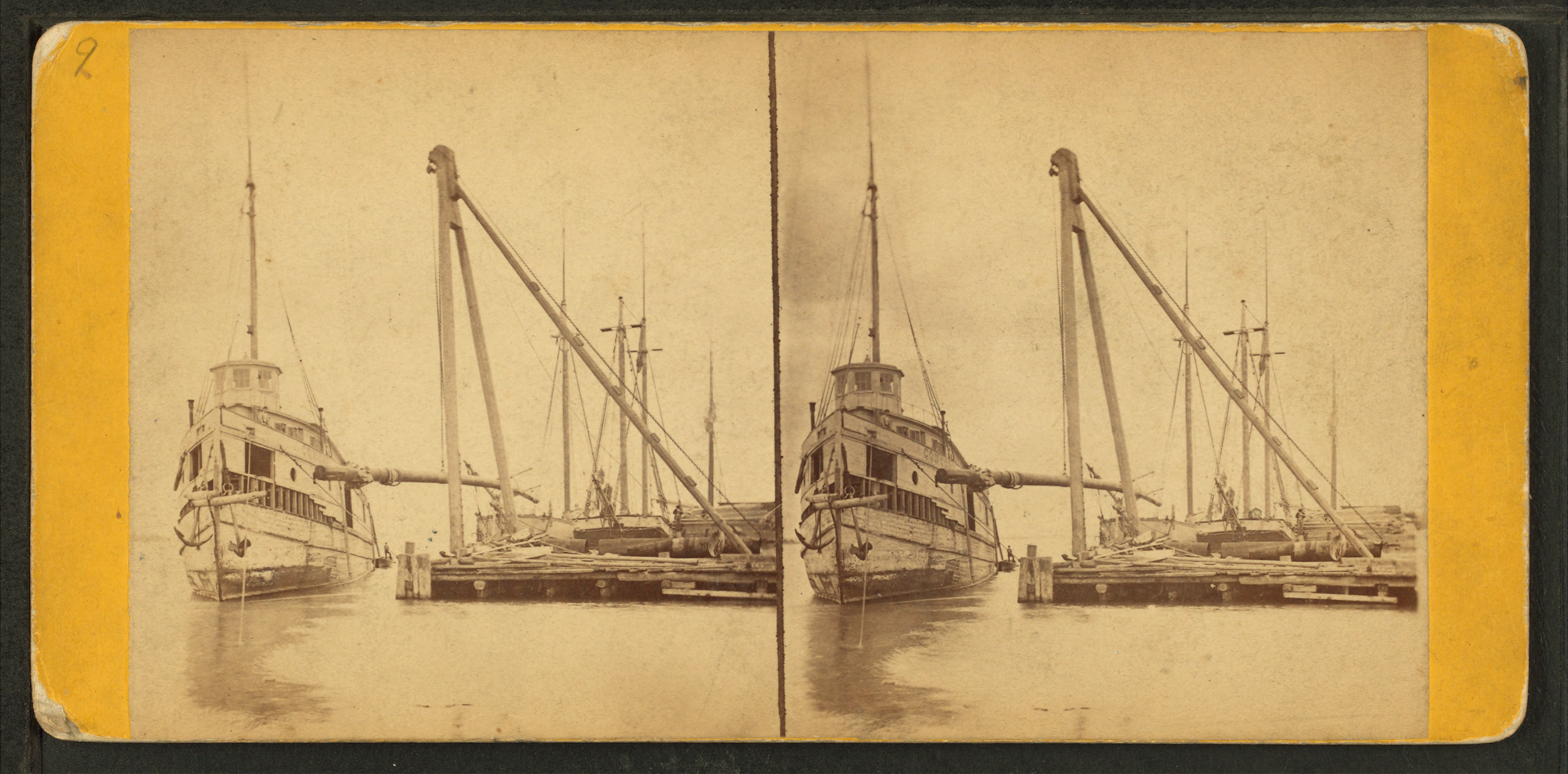 Stereographic photo of a ship at Detroit Dry Dock by Jex J. Bardwell (1824-1903) (image from Wikimedia Commons).