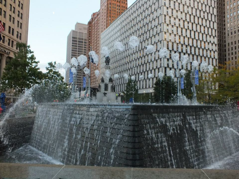 Woodward Fountain in Campus Martius Park (image from Listen Detroit)